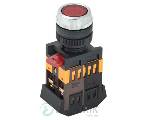 Кнопка ABLFS-22 неон d22 мм красная 240В 1з+1р, IEK