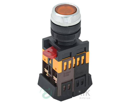 Кнопка ABLFS-22 неон d22 мм желтая 240В 1з+1р, IEK