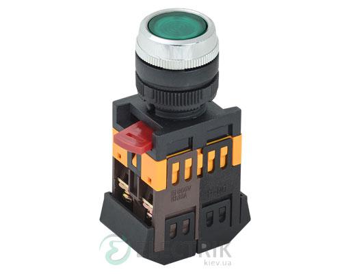Кнопка ABLFS-22 неон d22 мм зеленая 240В 1з+1р, IEK