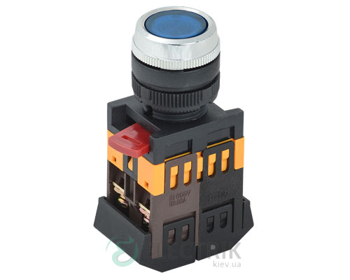 Кнопка ABLFS-22 неон d22 мм синяя 240В 1з+1р, IEK
