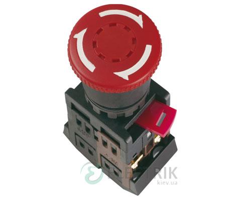 """Кнопка AE-22 """"грибок"""" с фиксацией d22 мм красная 240В 1з+1р, IEK"""