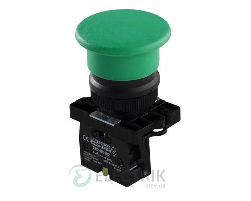 Кнопка «грибок» (d 40 мм) без фиксации (1НО) зеленая LAY5-EC31, АСКО-УКРЕМ