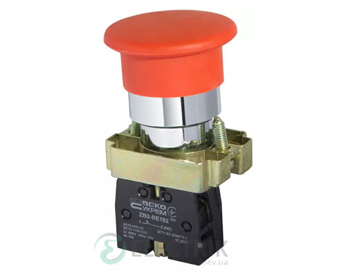 Кнопка «грибок» (d 40 мм) без фиксации (1НЗ) красная XB2-BC42, АСКО-УКРЕМ