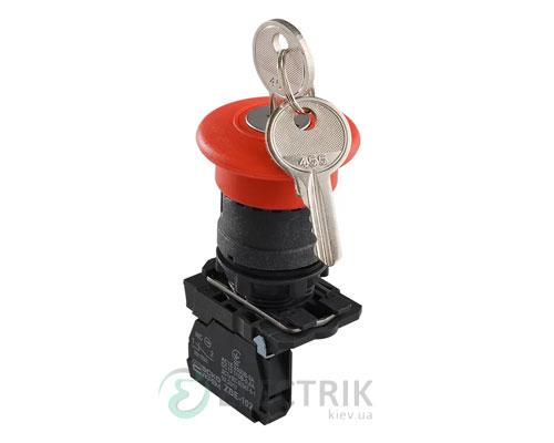 Кнопка «грибок» с фиксацией (1НЗ, возврат ключом) TB5-AS142, АСКО-УКРЕМ
