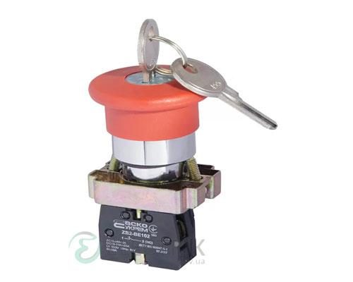 Кнопка «грибок» с фиксацией (1НЗ, возврат ключом) XB2-BS142, АСКО-УКРЕМ