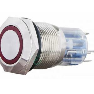 Кнопка металлическая с подсветкой (1НО+1НЗ) 220В красная TYJ19-271, АСКО-УКРЕМ