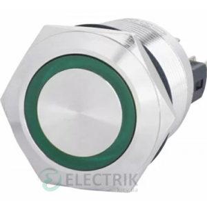Кнопка металлическая с подсветкой (1НО+1НЗ) 220В зеленая TYJ22-271, АСКО-УКРЕМ