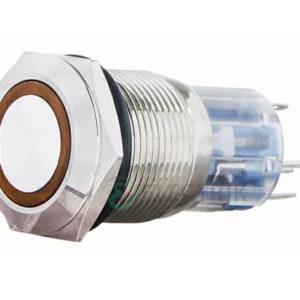 Кнопка металлическая с подсветкой (1НО+1НЗ) 24В желтая TYJ19-271, АСКО-УКРЕМ
