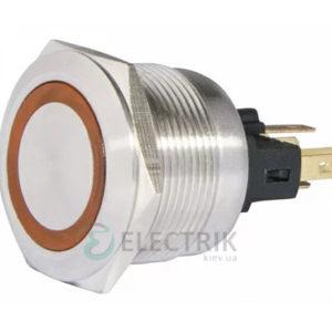 Кнопка металлическая с подсветкой (1НО+1НЗ) 24В желтая TYJ22-271, АСКО-УКРЕМ