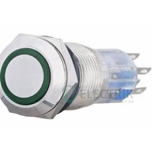 Кнопка металлическая с подсветкой (2НО+2НЗ) 220В зеленая TYJ19-272, АСКО-УКРЕМ