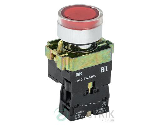 Кнопка управления LAY5-BW3461 с подсветкой красная 1з, IEK