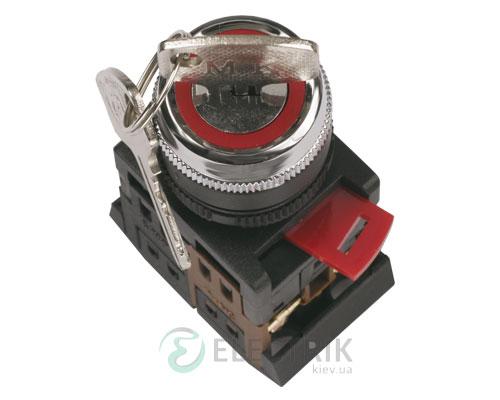 Переключатель AKS-22 черный с ключом на 2 фиксированных положения I-O 1з+1р, IEK
