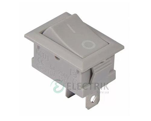Переключатель KCD1-101 Grey/Grey серый с серой клавишей, АСКО-УКРЕМ