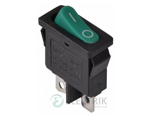 Переключатель KCD1-12-101 GR/B черный с овальной зеленой клавишей, АСКО-УКРЕМ