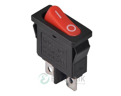 Переключатель KCD1-12-101 R/B черный с овальной красной клавишей, АСКО-УКРЕМ