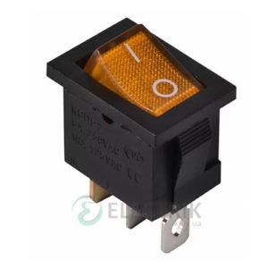 Переключатель KCD1-2-101N YL/B черный с желтой клавишей с подсветкой, АСКО-УКРЕМ