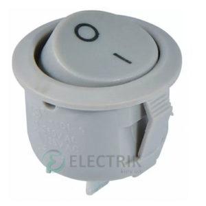 Переключатель KCD1-5-101 Grey/Grey серый с круглой серой клавишей, АСКО-УКРЕМ