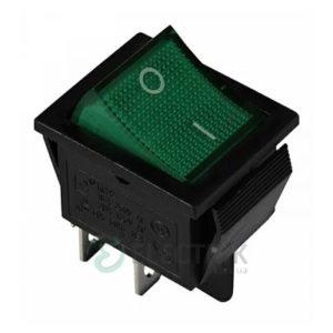 Переключатель KCD2-201N GR/B 2-полюсный черный с зеленой клавишей с подсветкой, АСКО-УКРЕМ