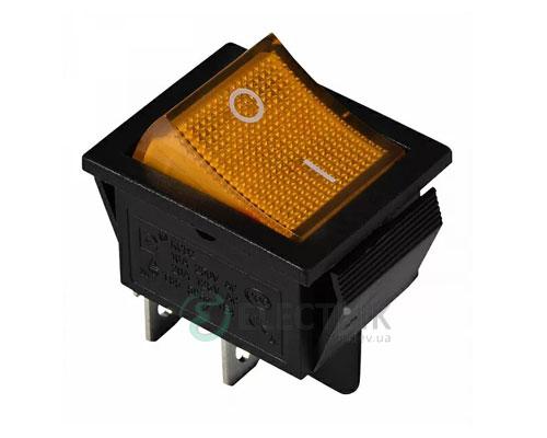 Переключатель KCD2-201N YL/B 2-полюсный черный с желтой клавишей с подсветкой, АСКО-УКРЕМ