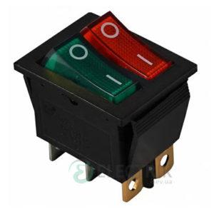 Переключатель KCD2-2101N GR+R/B черный с зеленой и красной клавишей с подсветкой, АСКО-УКРЕМ