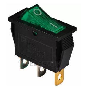 Переключатель KCD3-101N GR/B черный с зеленой клавишей с подсветкой, АСКО-УКРЕМ