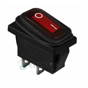 Переключатель KCD3-101W R/B черный с красной клавишей IP54, АСКО-УКРЕМ