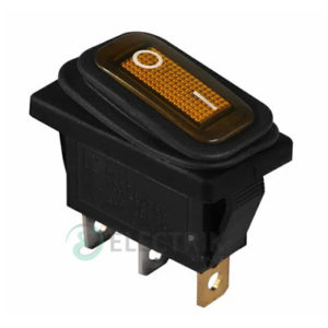 Переключатель KCD3-101WN YL/B черный с желтой клавишей с подсветкой IP54, АСКО-УКРЕМ