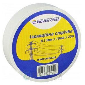 Изолента АСКО-УКРЕМ ПВХ 0,13мм*19мм/20м белая