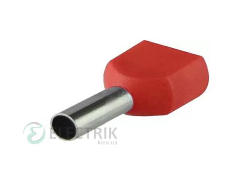 Наконечник TE 1.0-08 трубчатый в изоляции для двух проводов (упаковка 100 шт.), АСКО-УКРЕМ