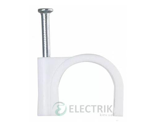 Скоба кабельная с гвоздем 14 мм круглая (упаковка 100 шт.), АСКО-УКРЕМ