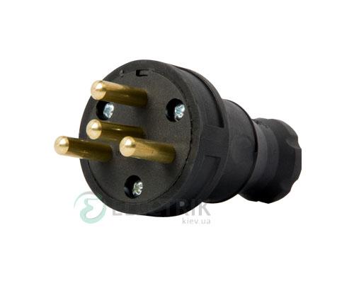 Вилка переносная каучуковая прямая e.plug.rubber.030.25 3P+PE 25А 400В IP44, E.NEXT (Mutlusan)