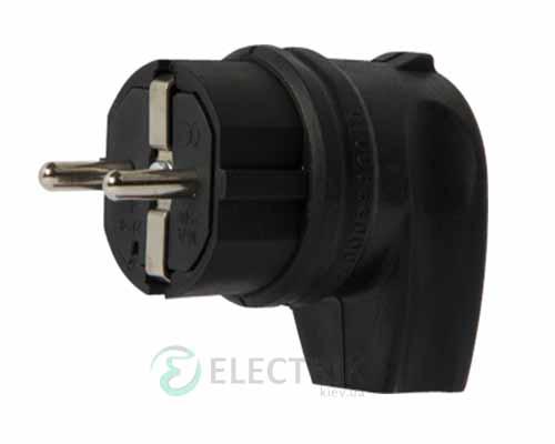 Вилка переносная каучуковая угловая e.plug.rubber.angle.027.16 2P+PE (Schuko) 16А 250В IP44, E.NEXT (Mutlusan)
