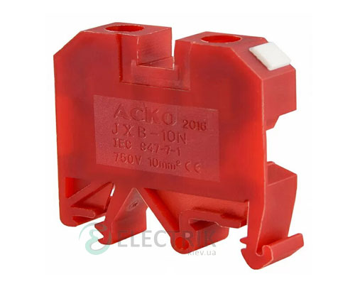 Винтовой контактный зажим JXB 10/35 на DIN-рейку красный, АСКО-УКРЕМ