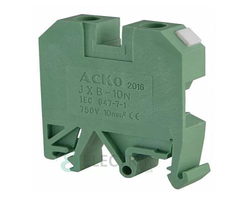 Винтовой контактный зажим JXB 10/35 на DIN-рейку зеленый, АСКО-УКРЕМ