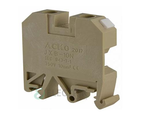 Винтовой контактный зажим JXB 10/35 на DIN-рейку желтый, АСКО-УКРЕМ