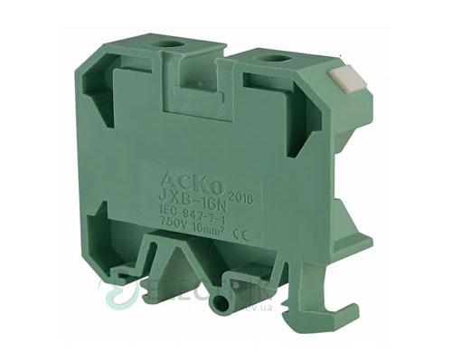 Винтовой контактный зажим JXB 16/35 на DIN-рейку зеленый, АСКО-УКРЕМ