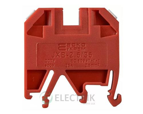 Винтовой контактный зажим JXB 2,5/35 на DIN-рейку красный, АСКО-УКРЕМ