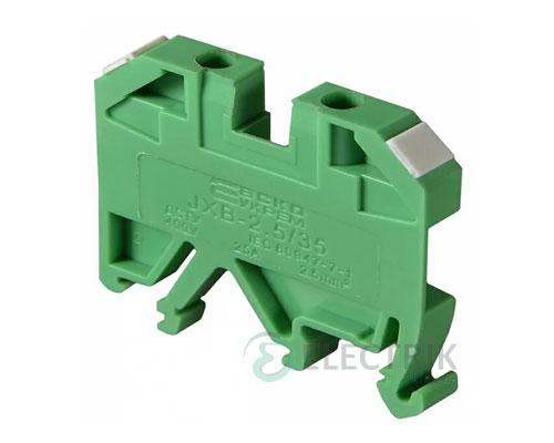 Винтовой контактный зажим JXB 2,5/35 на DIN-рейку зеленый, АСКО-УКРЕМ