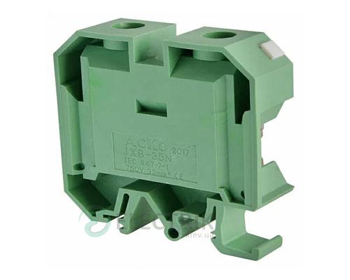 Винтовой контактный зажим JXB 35/35 на DIN-рейку зеленый, АСКО-УКРЕМ