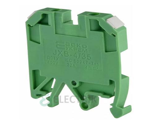 Винтовой контактный зажим JXB 4/35 на DIN-рейку зеленый, АСКО-УКРЕМ