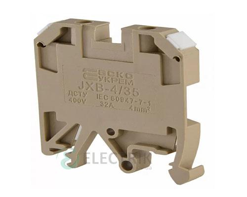 Винтовой контактный зажим JXB 4/35 на DIN-рейку желтый, АСКО-УКРЕМ