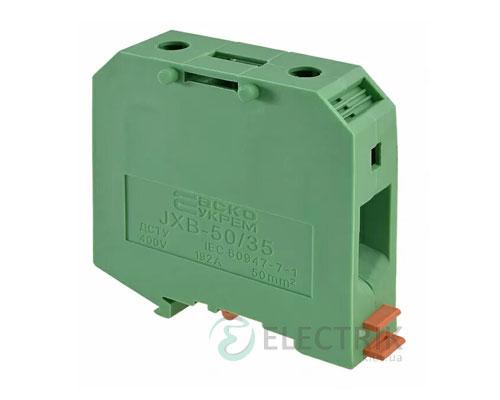 Винтовой контактный зажим JXB 50/35 на DIN-рейку зеленый, АСКО-УКРЕМ