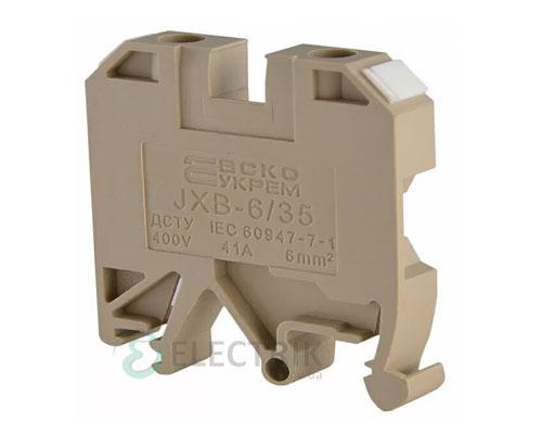Винтовой контактный зажим JXB 6/35 на DIN-рейку желтый, АСКО-УКРЕМ