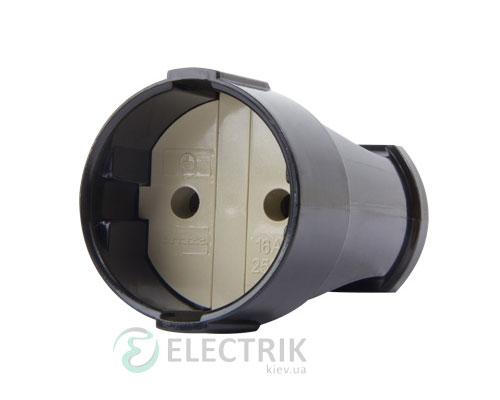Розетка переносная без заземления 10А черная e.socket.001.10.black, E.NEXT