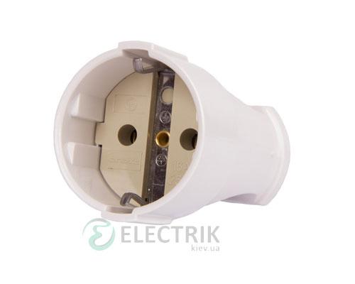 Розетка переносная с заземлением 16А белая e.socket.003.16.white, E.NEXT