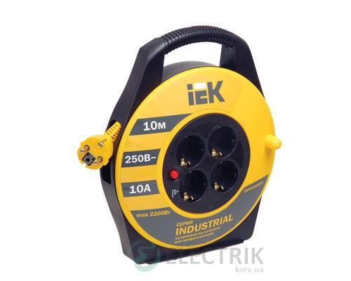 Катушка переносная УК10 с термозащитой 4 места 2P+PE/10м 3×1,5 мм² серия INDUSTRIAL, IEK