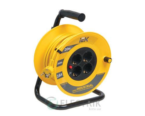 Катушка переносная УК20 с термозащитой 4 места 2P+PE/20м 3×1,5мм² IP44 серия INDUSTRIAL PLUS, IEK