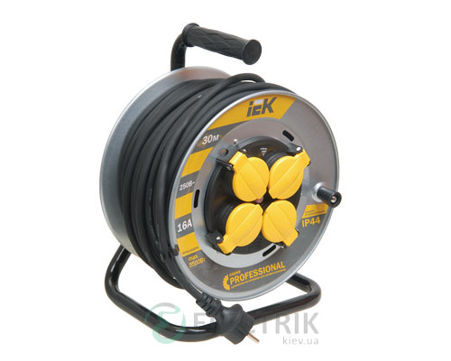 Катушка переносная УК30 на металлическом барабане с термозащитой 4 места 2Р+PЕ/30м КГ 3×1,5мм² IP44 серия PROFESSIONAL, IEK