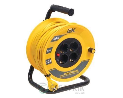Катушка переносная УК30 с термозащитой 4 места 2P+PE/30м 3×1,0 мм² серия INDUSTRIAL, IEK