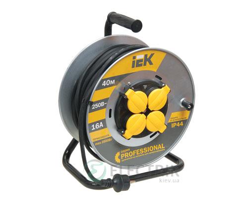 Катушка переносная УК40 на металлическом барабане с термозащитой 4 места 2Р+PЕ/40м КГ 3×2,5мм² IP44 серия PROFESSIONAL, IEK